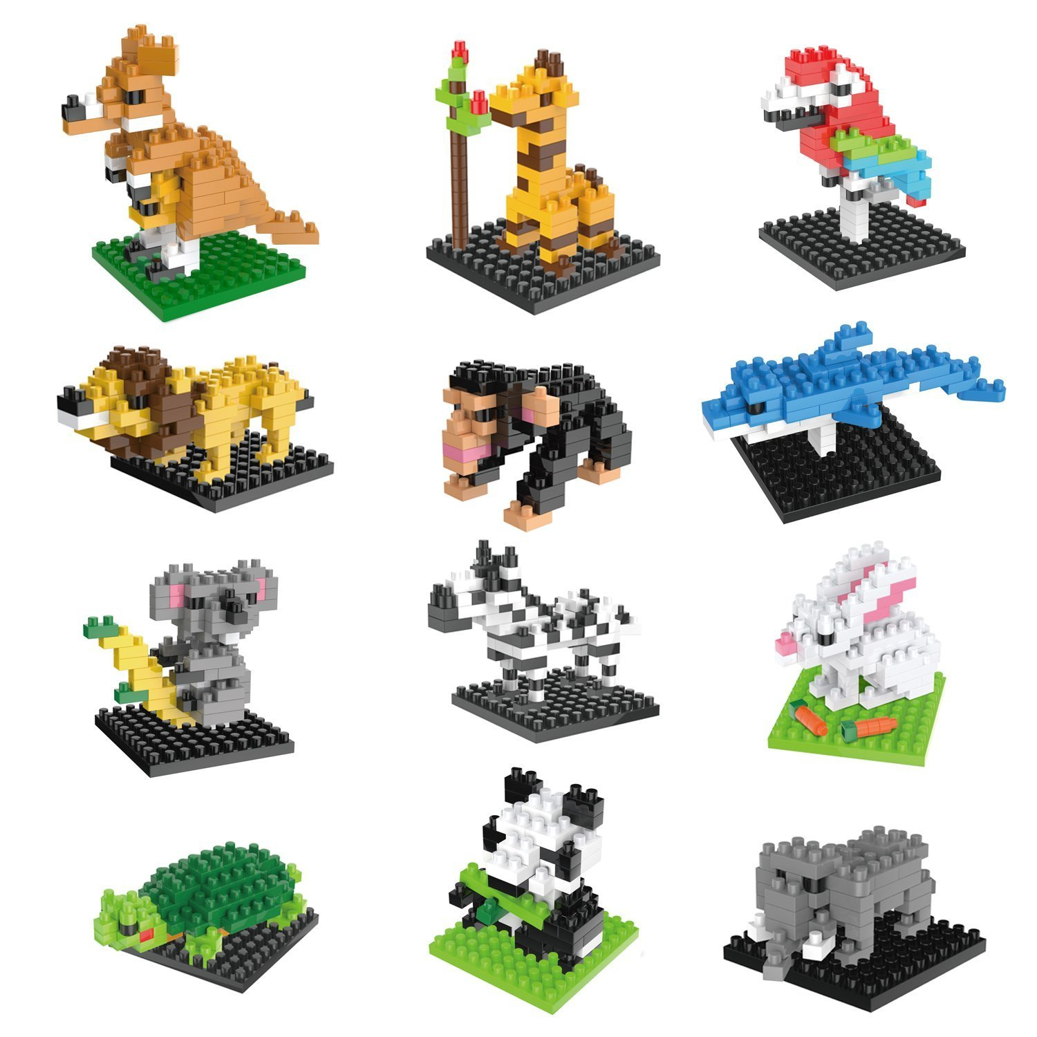 FUN LITTLE TOYS Mini Building Blocks Animals for Boys, Girls, Goodie Bags, Birthday Party Favors, Kids Prizes, Pinata, 12 Boxes