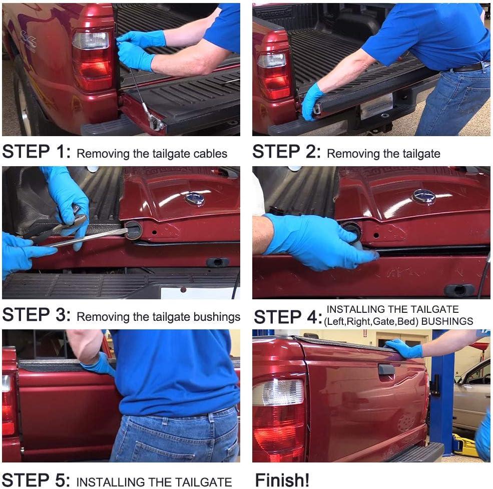 Tailgate Hinge Pivot Bushing Insert Kit for Dodge Ram //Ford F Series