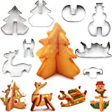 Christmas Cookie Biscuit Stainless Steel Cutter 8packs - Christmas Tree, Snowman, Sleigh, Elk for Kids/Party