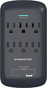 Monster Wall Tap Surge Protector - Power Surge Protector with Wall Mount - Heavy Duty Protection with up to 6 AC, 1 USB-C and 1 USB-A Port