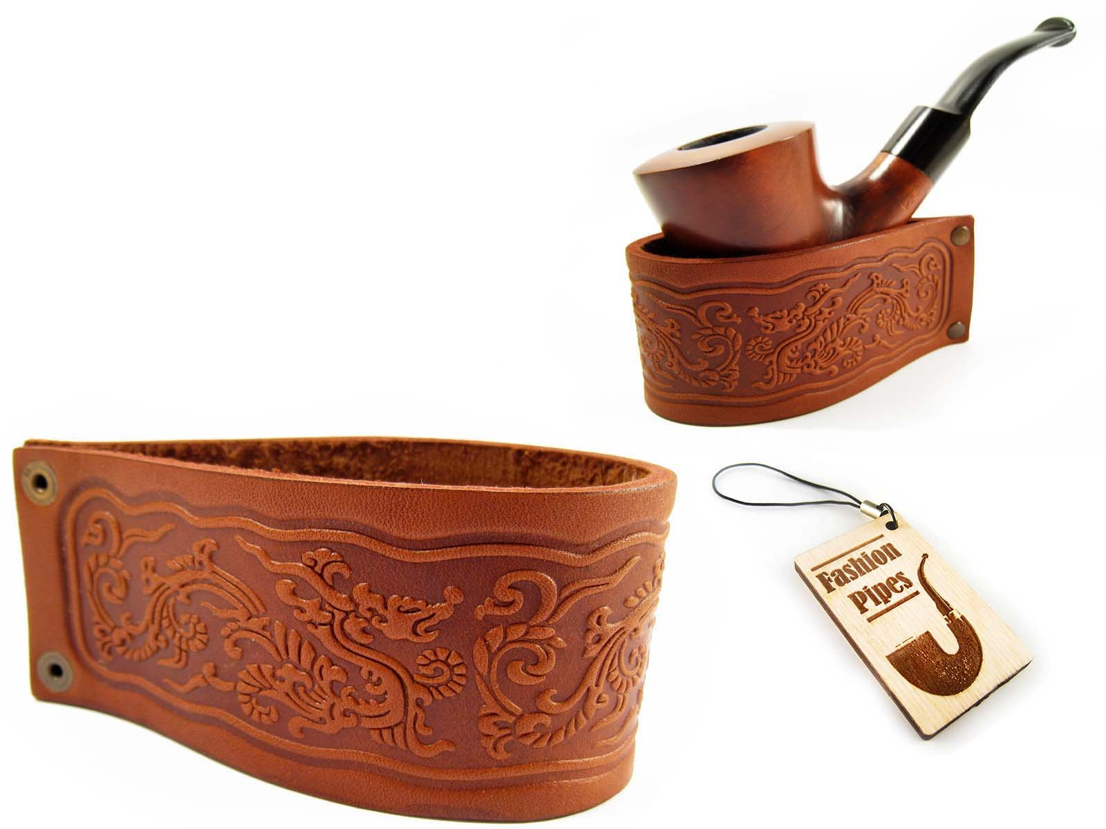 New Genuine Leather Pipe Stand Rack Holder Rest for Tobacco Smoking Pipe, Fits Most Pipes, Handmade (BIG) by Fashion Pipes
