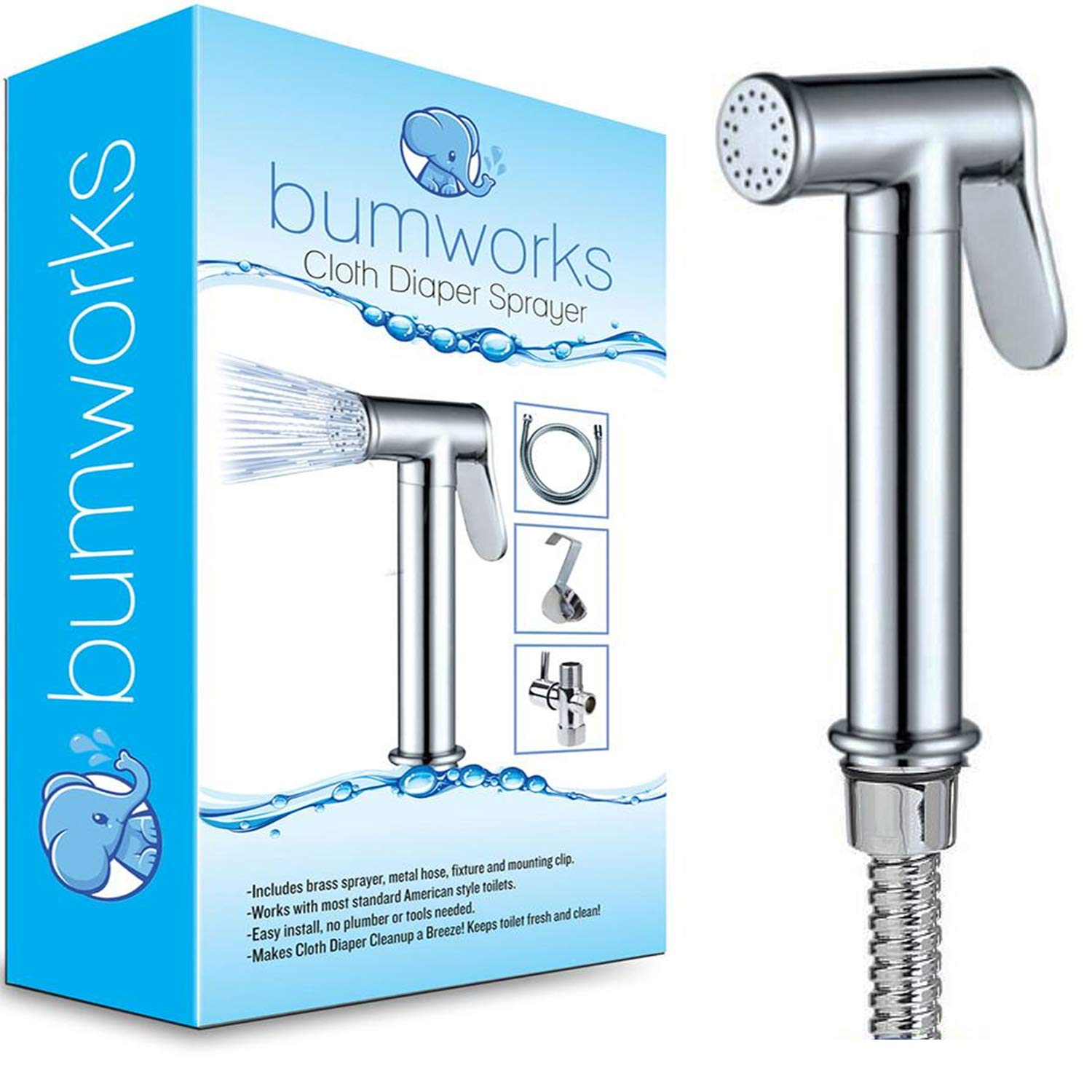 Bumworks Cloth Diaper Toilet Sprayer Kit - Brass Chrome Hand Held Bidet w/Metal Hose, T-Valve (7/8 inch), and Mounting Clip Attachment Adapter (3-Way Valve) by Kaydee Baby