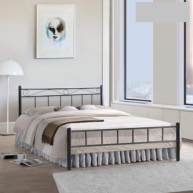 Metallika London King Size Metal Bed  Glossy Finish, Black  By FurnitureKraft