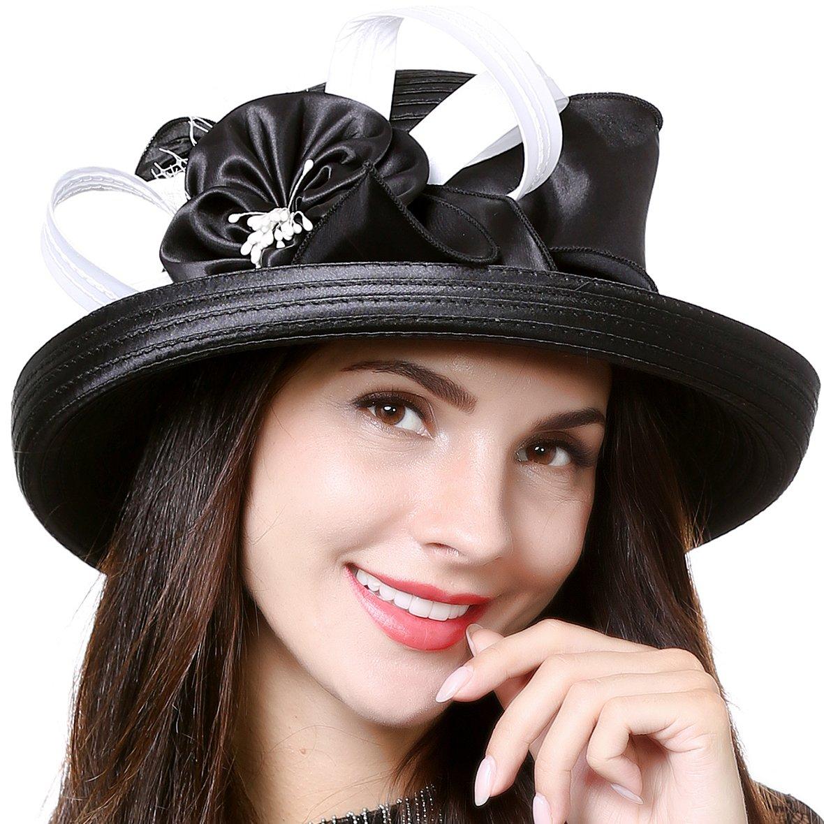 Kentucky Derby Church Dress Hat Wide Brim Leaf Flower Bridal Shower Hat