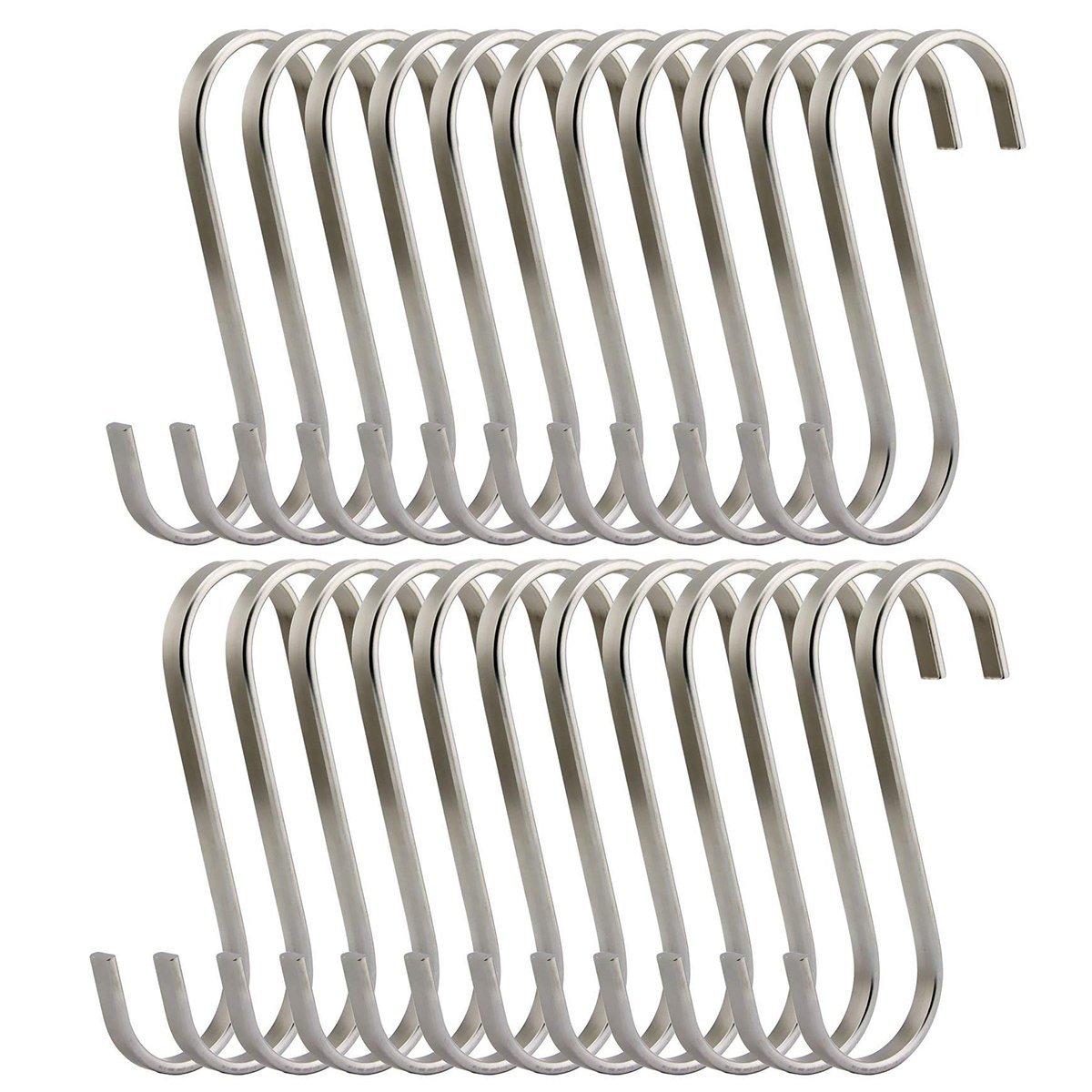 25 Pack 3 inch Flat S Hooks Heavy Duty Solid 304 Stainless Steel S Shaped Hanging Hooks,Metal Kitchen Pot Pan Hangers Rack Hooks
