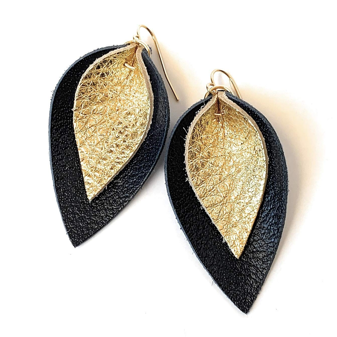 Gold leather teardrop earrings Gold Leather Earrings Leather Earrings Handmade Earrings Gold Leather Leather Jewelry Leather *Free Shipping