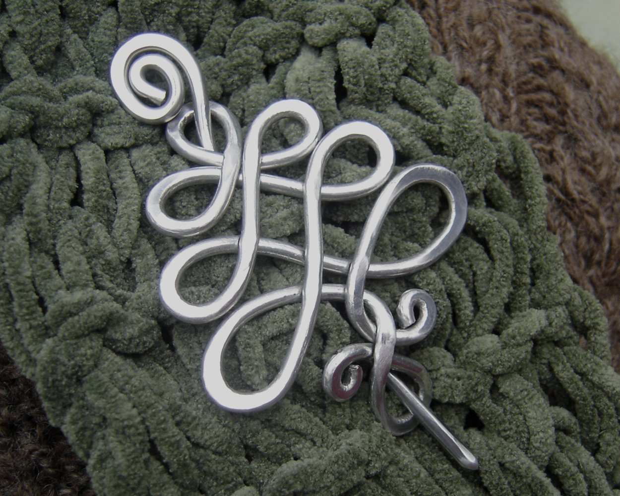 Celtic Christmas Tree Aluminum Shawl Pin, Sweater Brooch Scarf Pin Handmade in Oregon USA