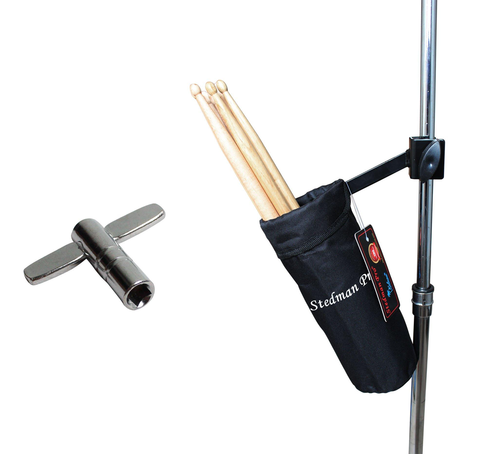Vizcaya DSH10 Drum Stick Holder Drum Stick Bag with Drum Key (Black)