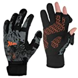 KastKing Mountain Mist Fishing Gloves – Cold Winter Weather Fishing Gloves – Fishing Gloves for Men and Women – Ideal as Ice Fishing, Photography, or Hunting Gloves(Blackout, Medium)