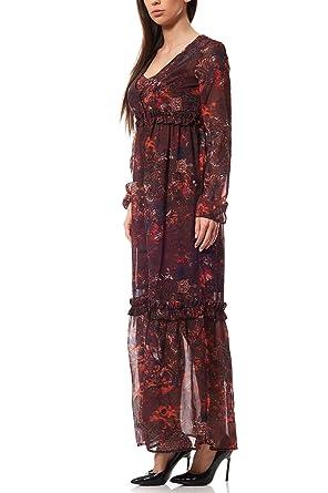 b79428bc04c Laura Scott Chiffon Maxikleid Boho-Look Kleid Sommerkleid Damen Bunt   Amazon.de  Bekleidung