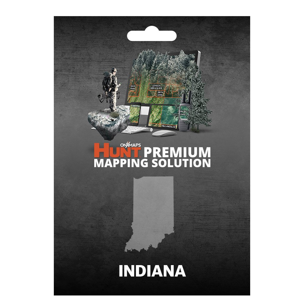 onXmaps HUNT Indiana: Digital Hunting Map For Garmin GPS + Premium Membership For Smartphone and Computer - Color Coded Land Ownership - 24k Topo - Hunting Specific Data