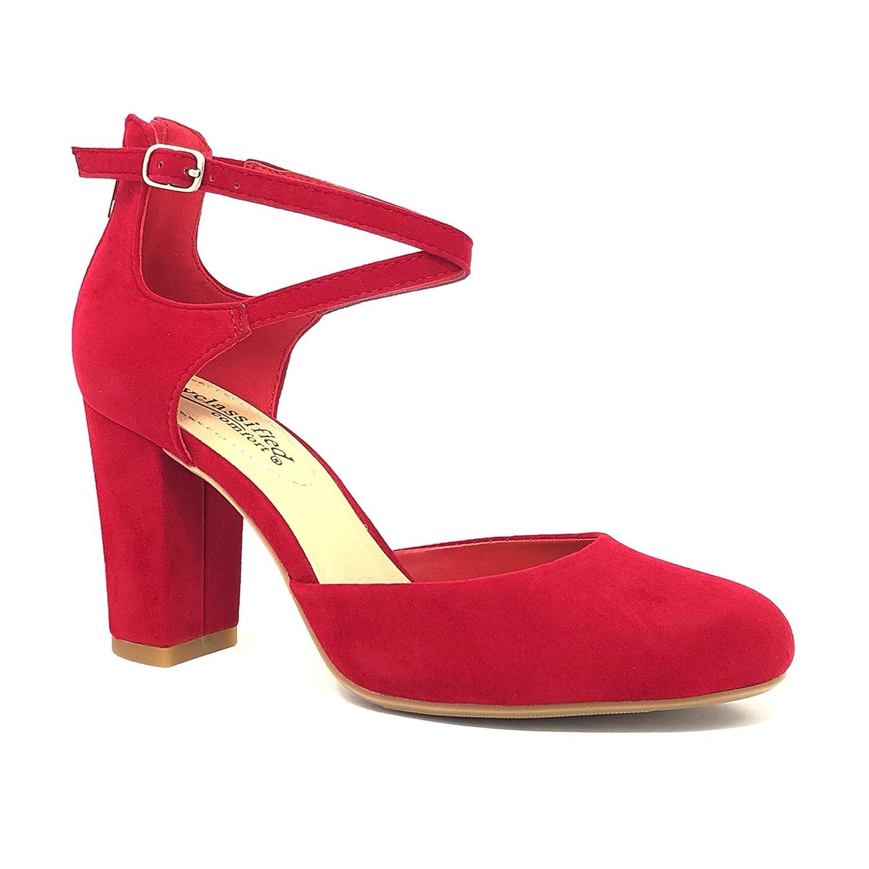 City Classified Comfort Nola Womens Closed Toe Ankle Strap Block Heel