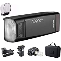 GODOX AD200 Pro Version, 200Ws 2.4G Flash Strobe, 1/8000 HSS, 500 Full Power Flashes, 0.01-2.1s Recycling, 2900mAh…