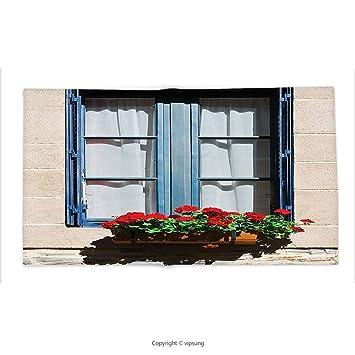 Custom Bedruckt Überwurf Decke Mit Fensterläden Decor Mediterraner Stil  Fenster Mit Open Jalousien Bild French Urban