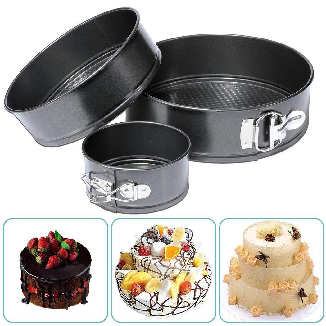 3Pcs/Set Kitchen Springform Multilayer Wedding Birthday Baking Cake Tins, 4inch/7inch/9inch Nonstick Leak-proof Round Cheesecake Pan Kit (1Set (4/7/9inch)) by Nessere (Image #1)