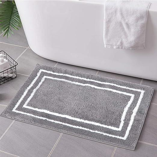 "Soft Microfiber Non-slip Antibacterial Rubber Luxury Bath Mat Rug 28/""x18/"" Black"