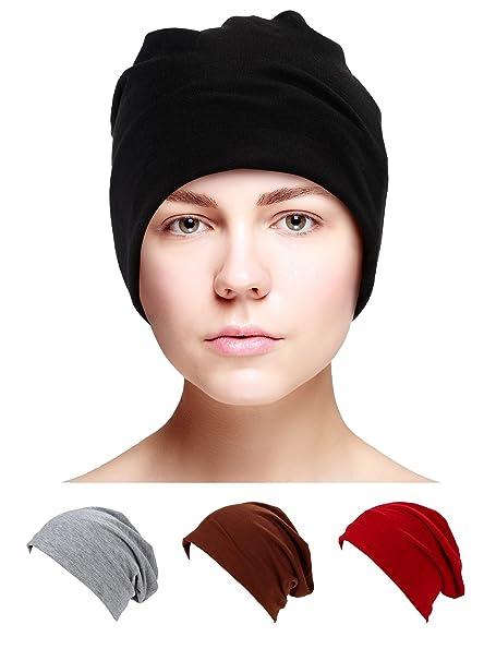 Satinior 4 Pieces Unisex Cotton Sleep Caps Chemo Cap Soft Knit