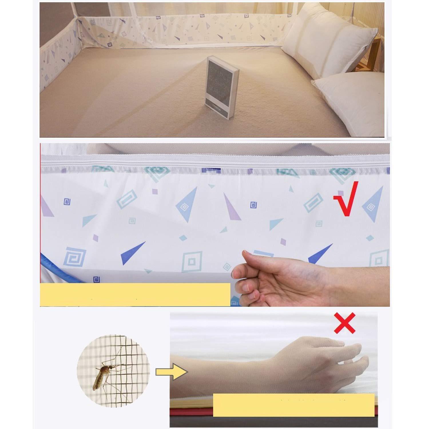 Romantic Elegant Mosquito Net for Home Decor 1.5 1.8m Double Bed Net Princess Bed Mosquito Net Tent Mesh Netting,Green Full-Bottom,1.8m (6 feet) Bed by SuWuan mosquito net (Image #2)