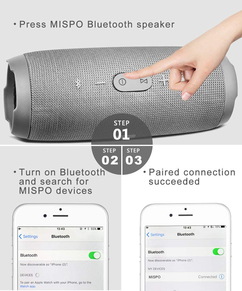 Built in Mic for iPhone//Samsung//Speakerphone//TF Card//Tablet//Laptop (Silver) Bluetooth 4.0 24 Hour Playtime MISPO Portable Waterproof Wireless Speaker with Loud Stereo Sound /& HD Bass Boost