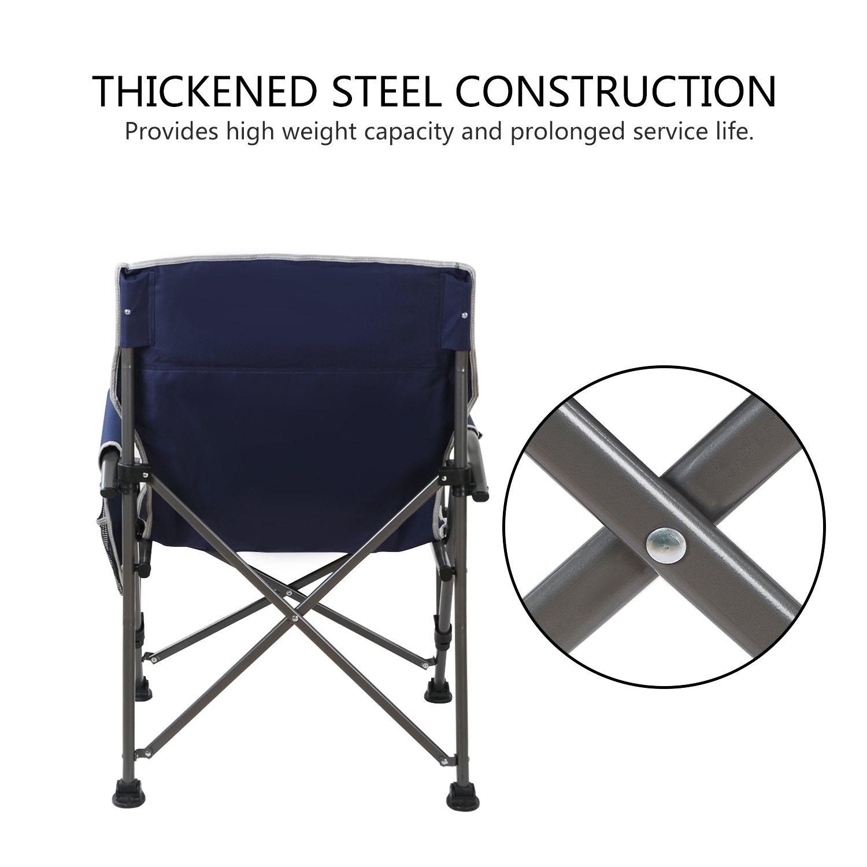 Noir Chaise de Camping Super Solide WolfWise Chaise de Plage Pliante Assise Large Si/ège Randonn/ée