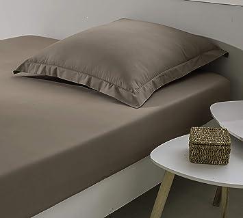 ELENA PARIS – Sábana Bajera 100% algodón percal 78 Hilos/cm2, marrón, 180 x 200 cm: Amazon.es: Hogar