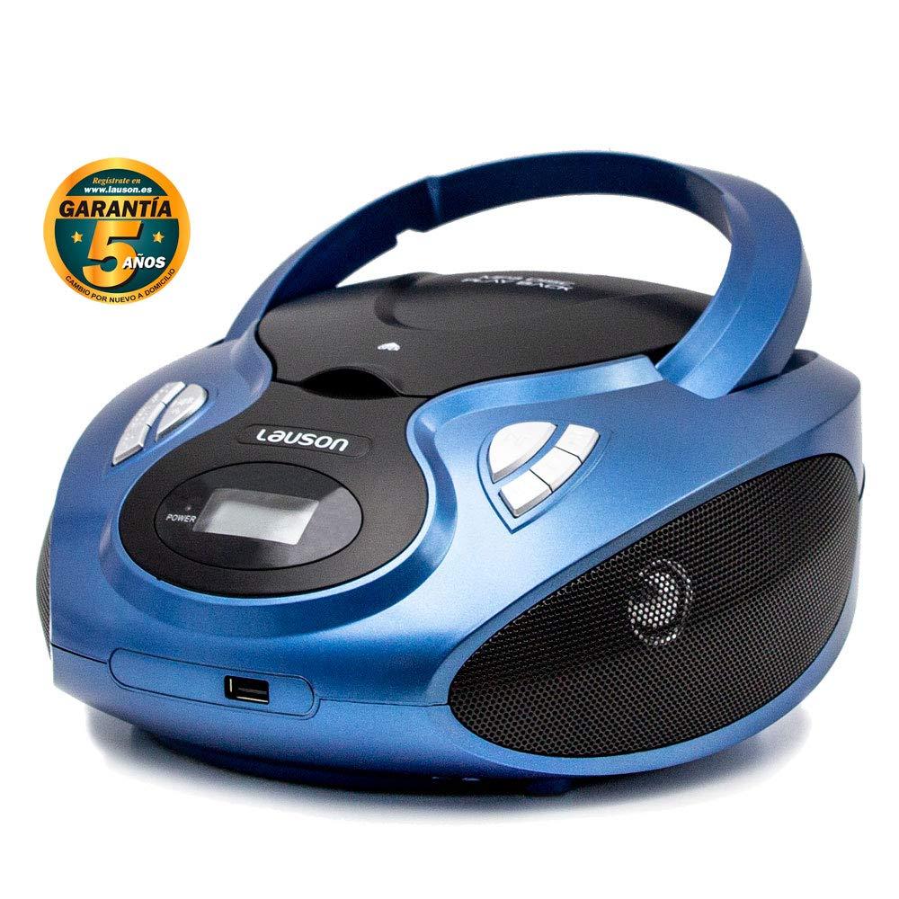 Lauson Radio y Reproductor de CD Portátil con USB | Radio Am/FM | USB y Mp3 | CD Player con Salida para Auriculares 3.5mm | CP636 (Azul)