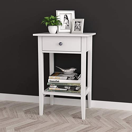 SoSo-BanTian1989 White Finish Nightstand Side End Table