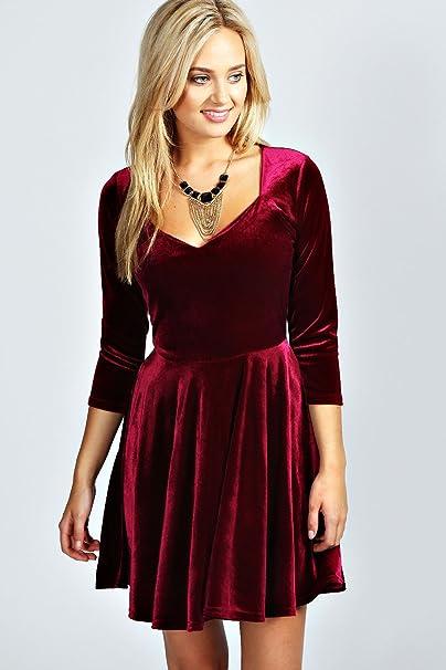 556f3fdc107e Womens Lara Velvet Sweetheart Neck Skater Dress - Berry - 6: Amazon.co.uk:  Clothing