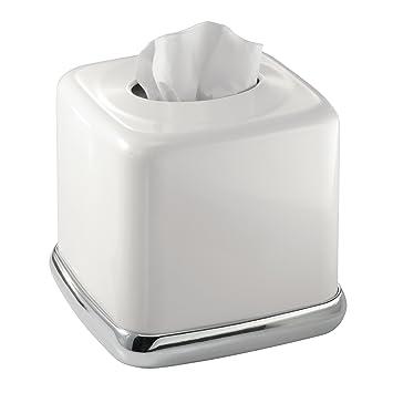 mDesign – Caja de pañuelos cuadrada de metal – Práctica caja para pañuelos de papel –