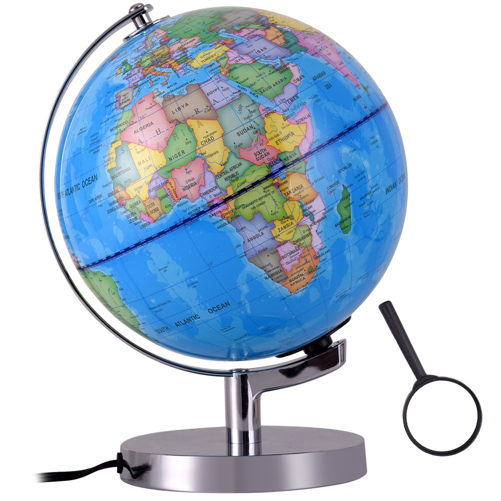 Qwork 8-inch Illuminated World Desktop Globe for Kids, Built in LED 2-in-1 Nightlight Political Globe Toy with Metal Stand
