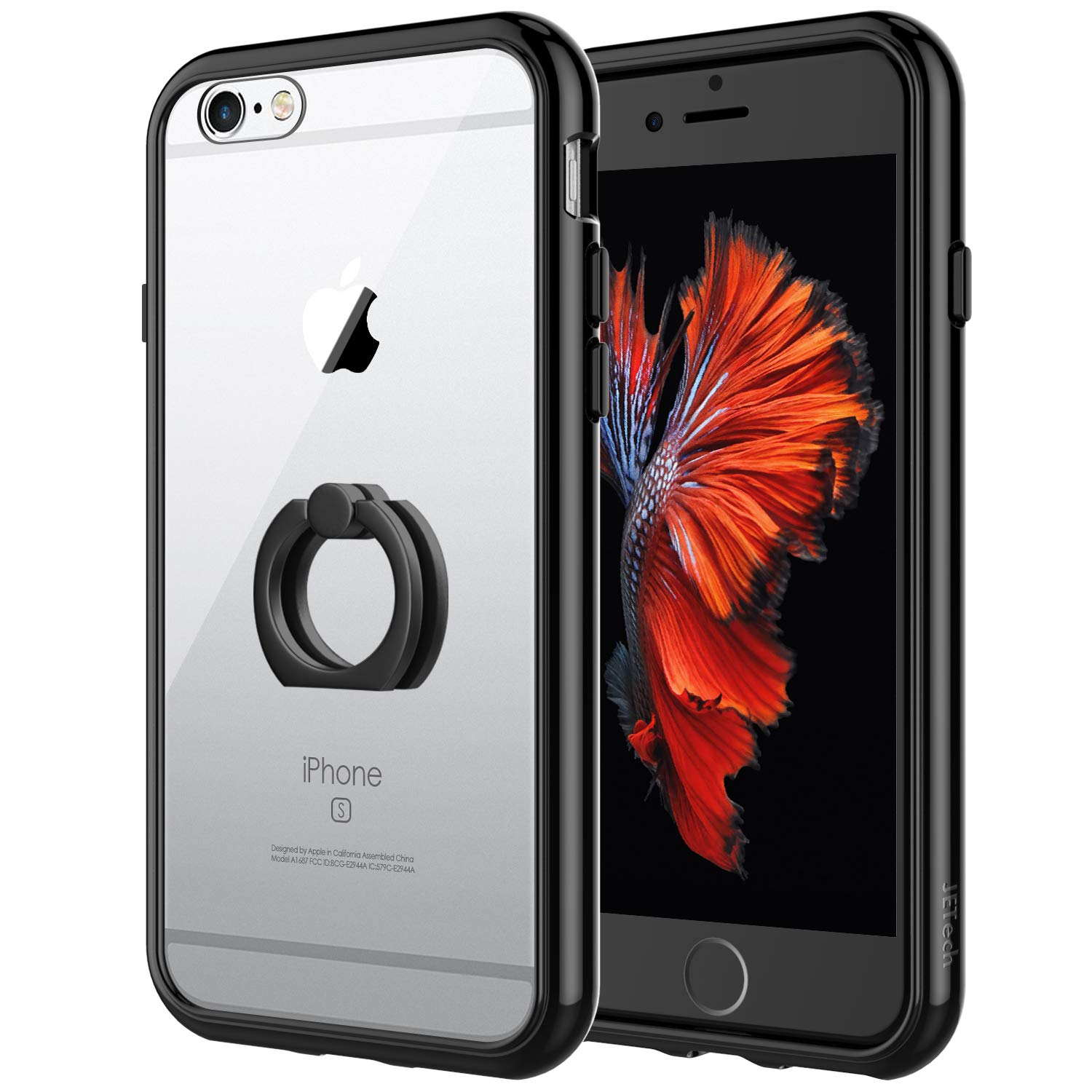 Jetech Case For Apple Iphone 6 And Iphone 6s Ring Holder Kickstand Shock Absorption Bumper Cover 4 7 Black Buy Online In Aruba At Aruba Desertcart Com Productid 51420786