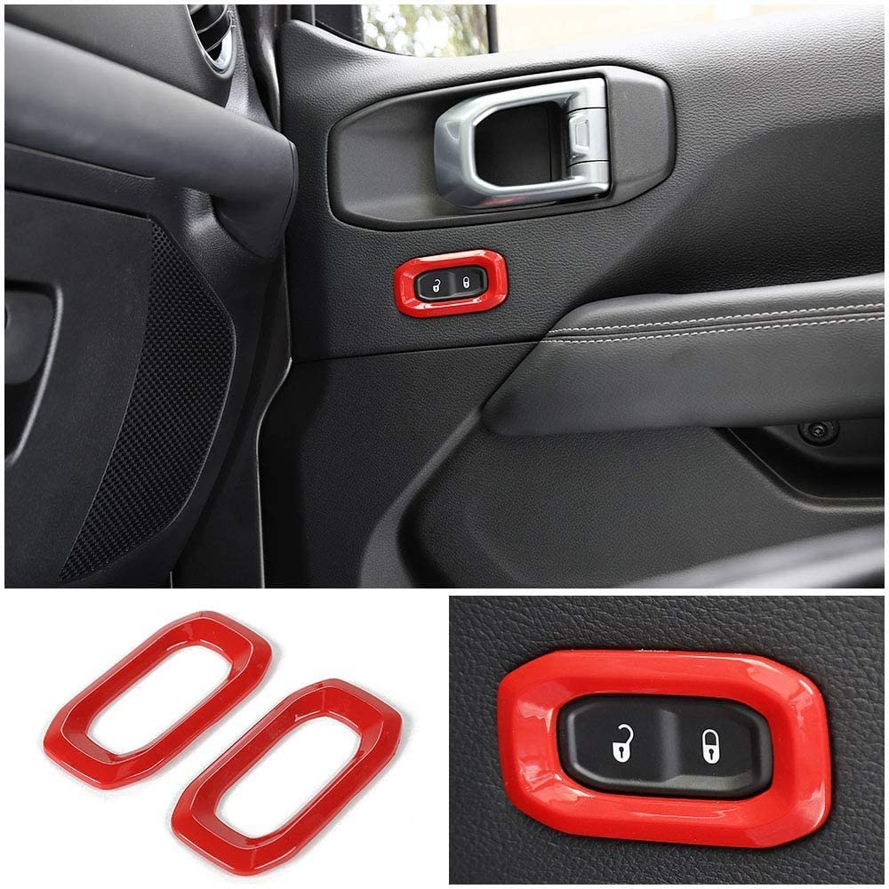 NO7RUBAN Full Set Interior Decoration Cover Trim for Jeep Wrangler JL 2018 Door Handle Bowl,Center Console,Gear Shift,Air Outlet,Headlight Red Interior Dashboard AC Air Vent Cover