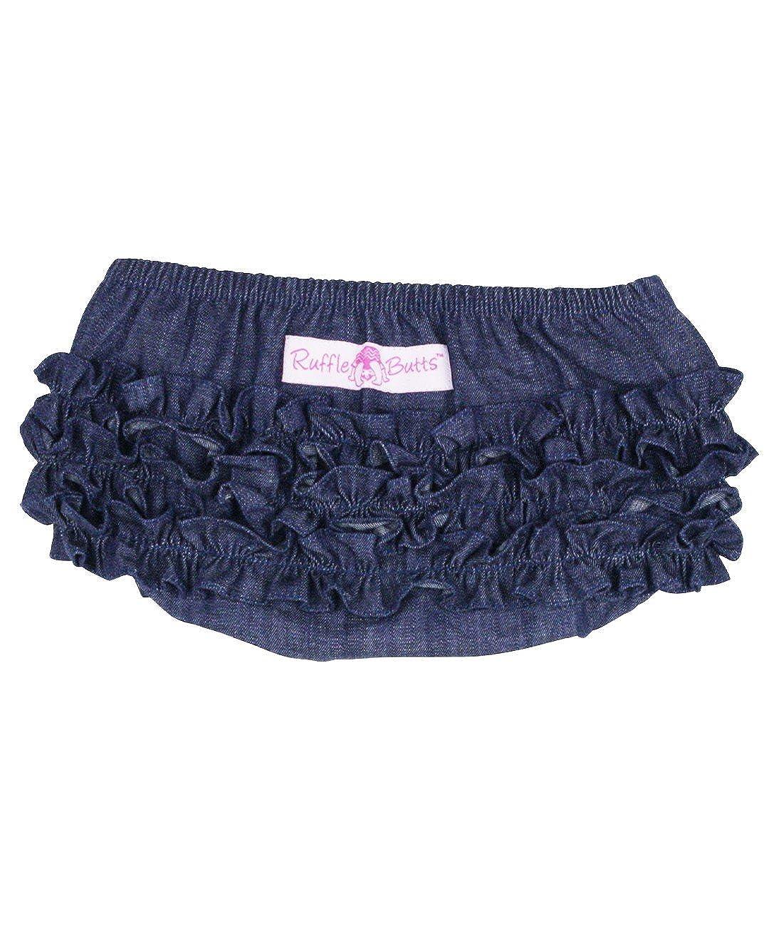 RuffleButts Baby//Toddler Girls Denim Ruffled Diaper Cover Bloomer RBDYYXX-0000-SC-BABY