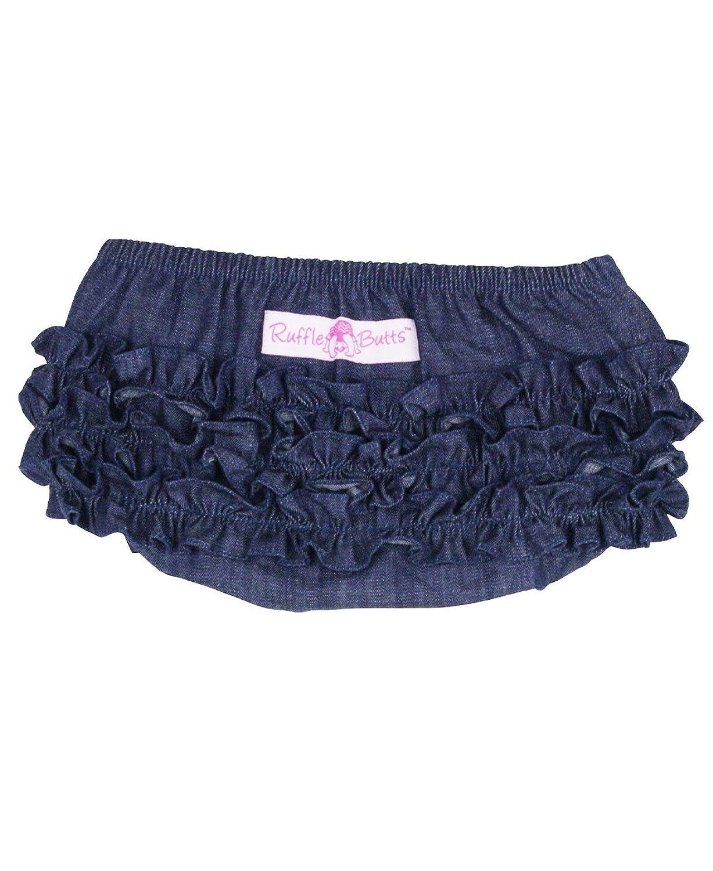 Amazon.com: RuffleButts Infant/Toddler Girls Denim Ruffled Diaper ...