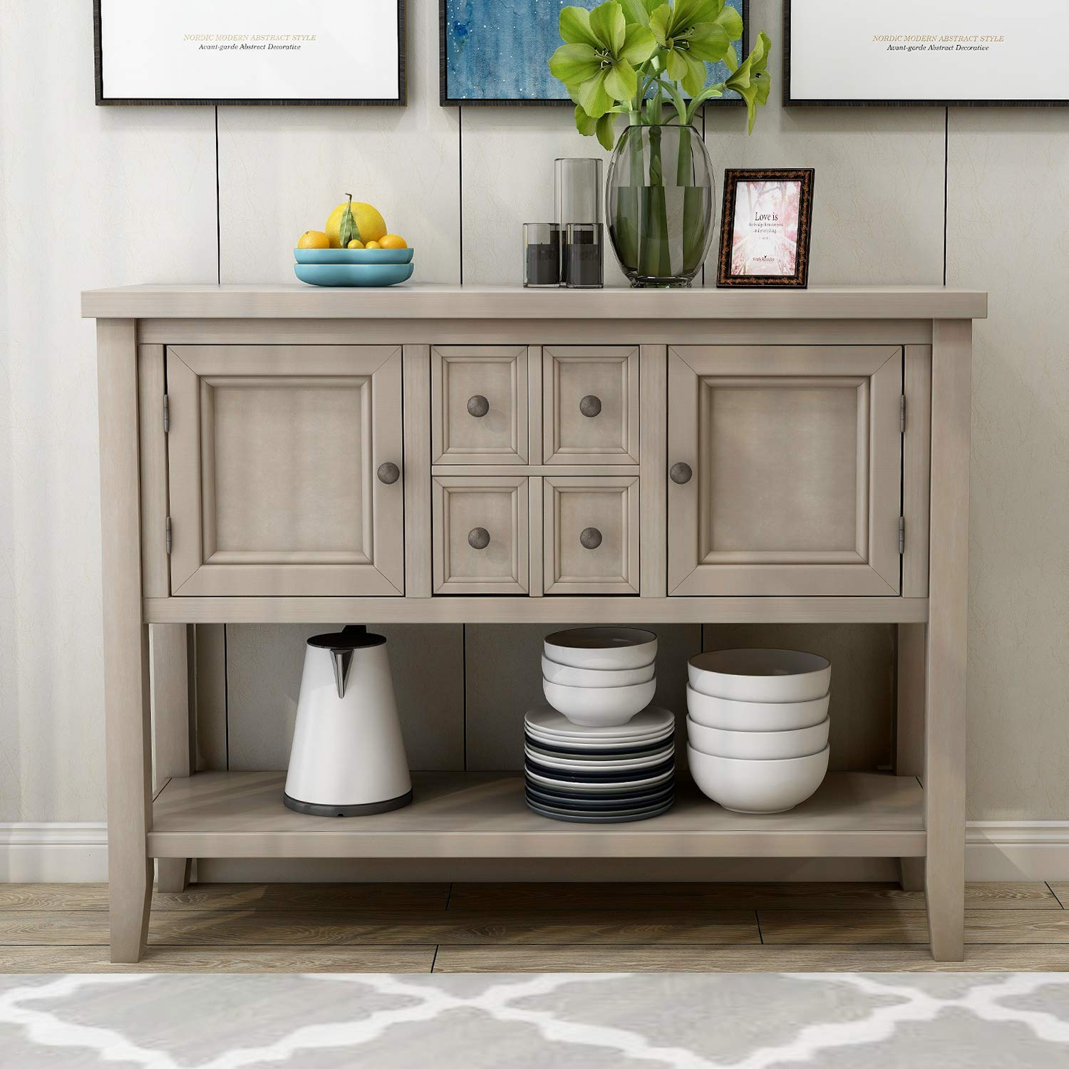 ALI VIRGO Console Buffet Sideboard Sofa Entry Table with 4 Storage Drawers Two Cabinets and Bottom Shelf, Antique Gray by ALI VIRGO