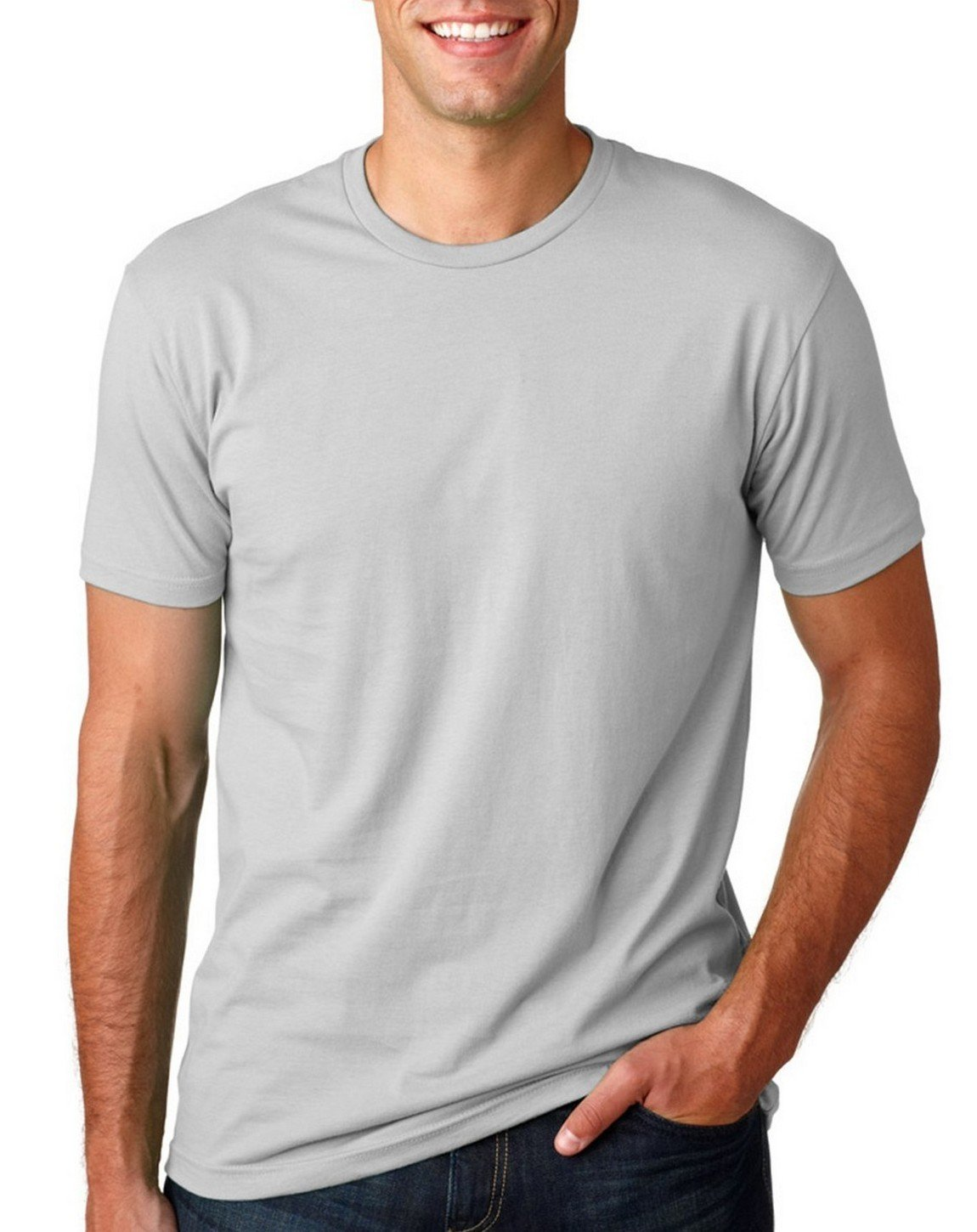 Next Level Mens Premium Fitted Crew Light Grey Large (Pack of 5)