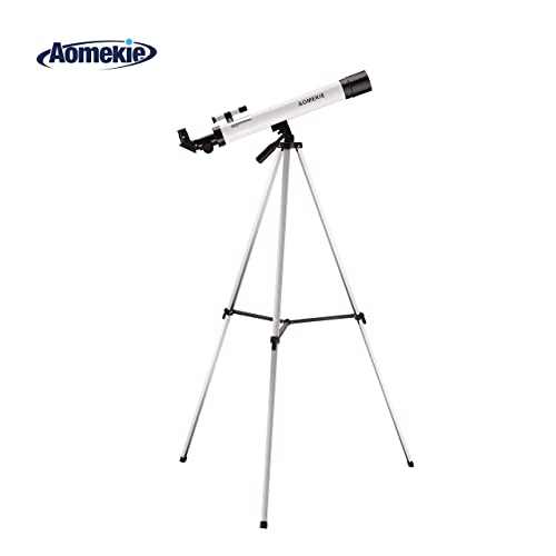 Aomekie Telescope for Kids Beginners and Astronomy 50/600 Portable Astronomical Telescopes Refractor with Finder Scope and Adjustable Tripod