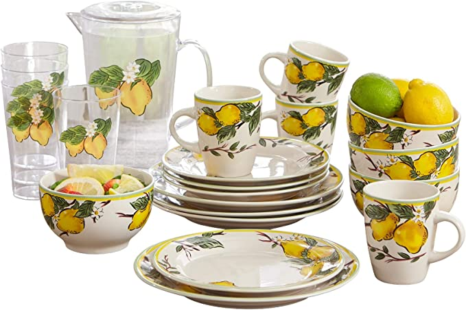 BrylaneHome 16-Pc. Lemon Dinnerware Set, Multi