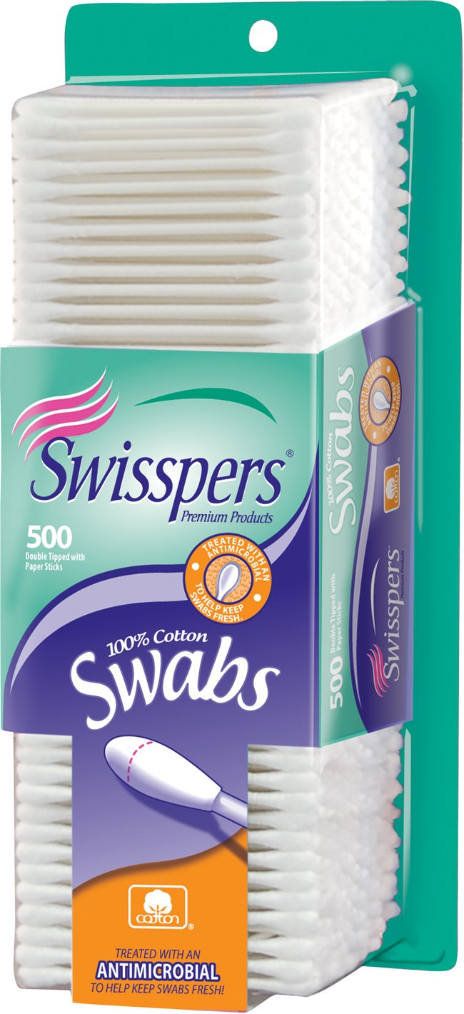 Swisspers Cotton Swabs, 100% Cotton Double-Tipped, White Paper Sticks, 500 per Pack, Case of 24 Packs (12,000 Total)