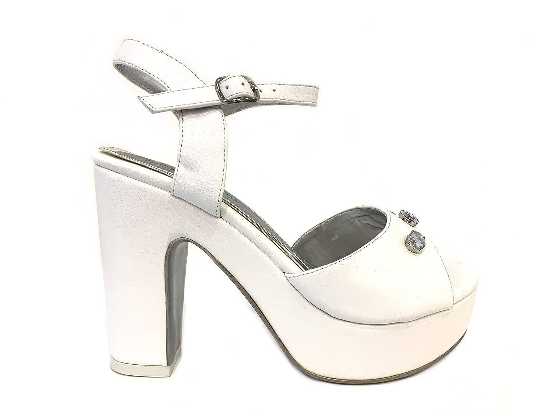 8c20fe624b9955 Sandales Blanc Jeune mariée décolleté élégantes Pumps Femme Talon Haut  Plateau cérémonie avec détail Chaussures Escarpins ...