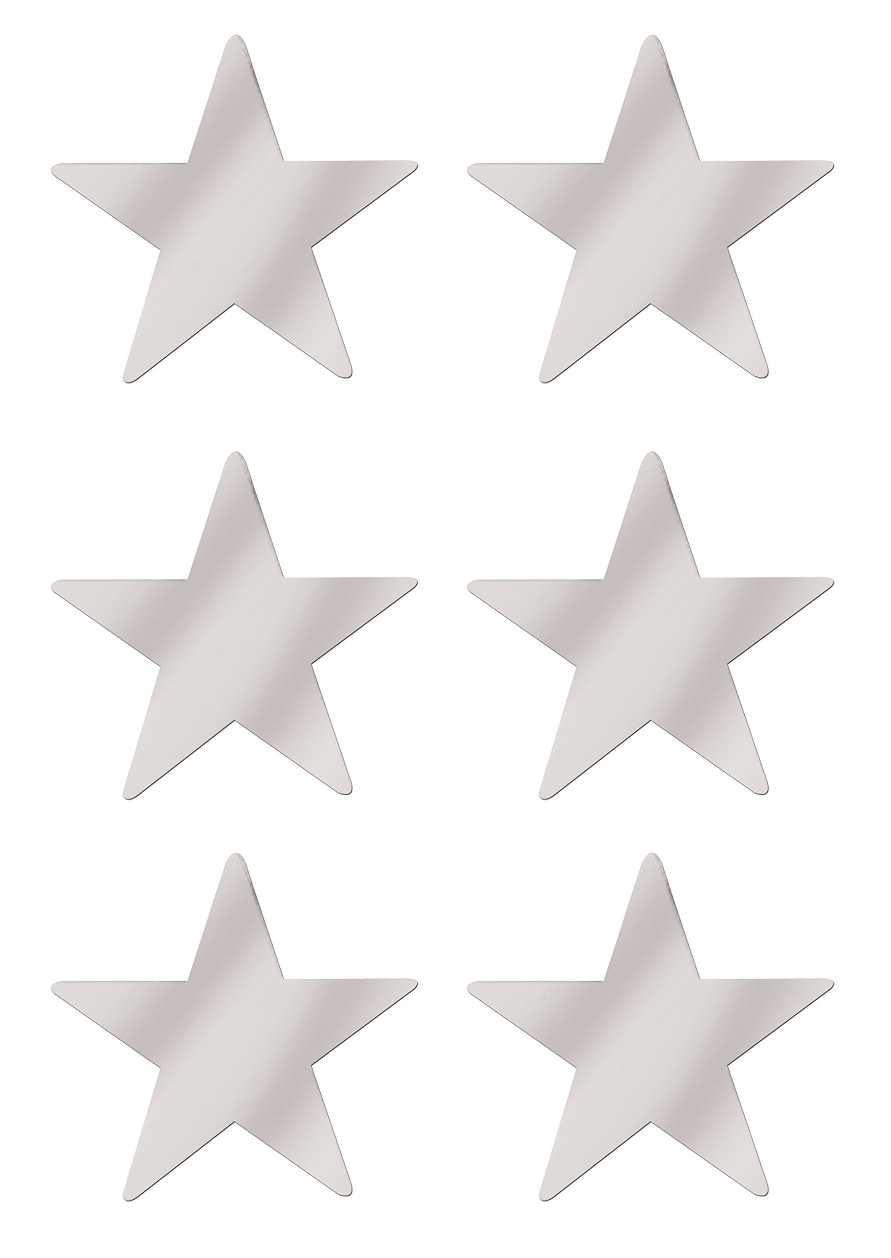 Beistle S50998SAZ6, 6 Piece Jumbo Foil Star Cutouts, 20'' (Silver) by Beistle