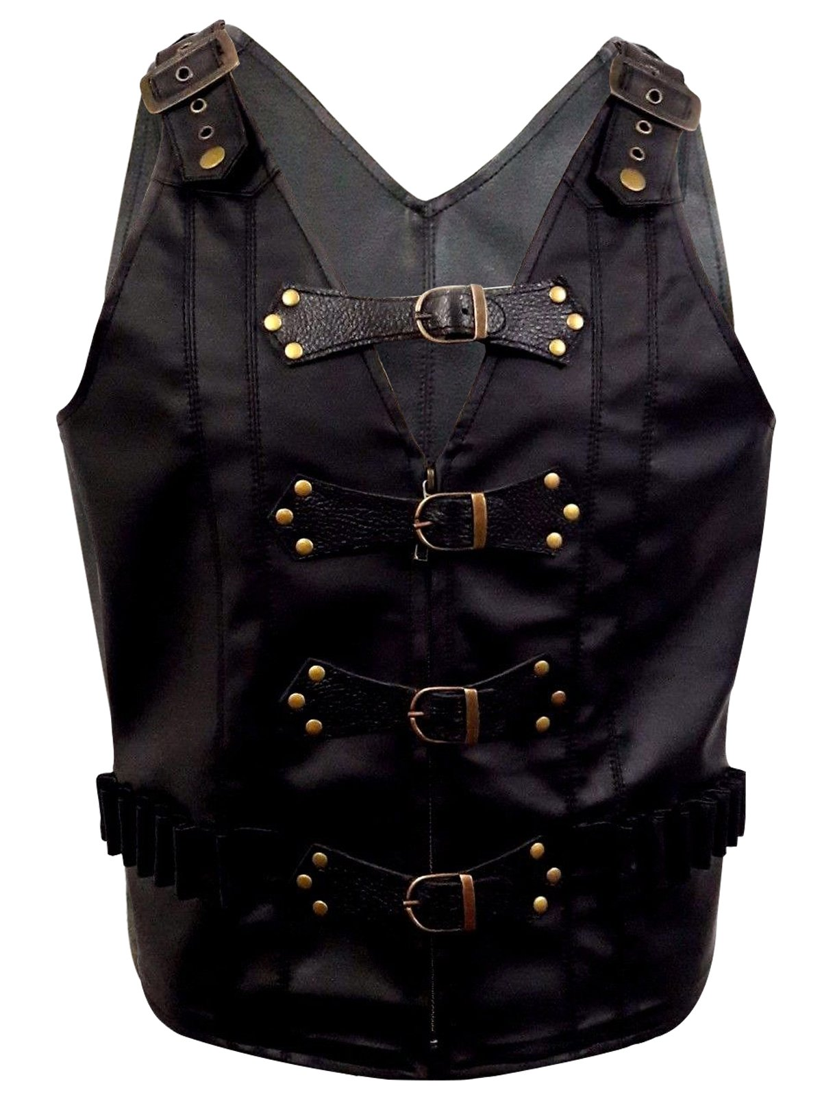 Mens Real Black Leather Heavy Duty Steampunk Gothic Style Vest Waistcoat 3