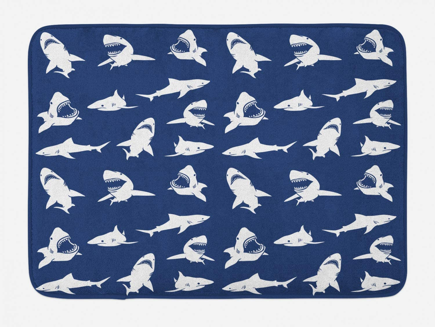 "Ambesonne Shark Bath Mat, Fish Pattern Various Gestures Have a Bite Danger Humor Nautical Design, Plush Bathroom Decor Mat with Non Slip Backing, 29.5"" X 17.5"", Violet Blue"