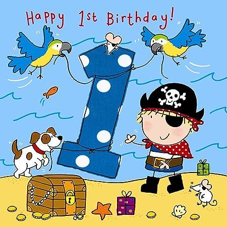 Twizler Carte De 1er Anniversaire Pour Garcon Avec Pirate Chien Et Perroquets 1 An 1 An Carte D Anniversaire Pour Enfants Carte D Anniversaire Pour Garcon Carte D Anniversaire Pour