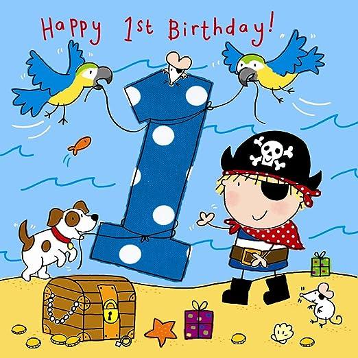 Twizler Tarjeta de primer cumpleaños para niño con pirata, perro y loros – un año de edad – edad 1 – Tarjeta de cumpleaños – Tarjeta de cumpleaños ...