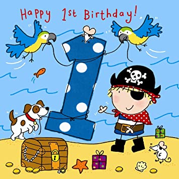 Twizler 1st Birthday Card For Boy With Pirate Dog And Parrots One