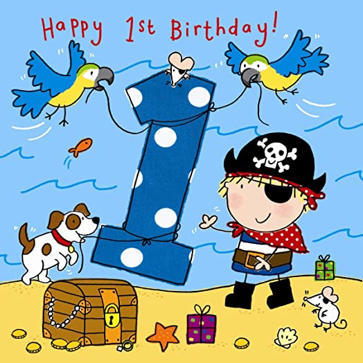Twizler 1st Birthday Card for Boy with Pirate Dog and Parrots – Boy Birthday Cards