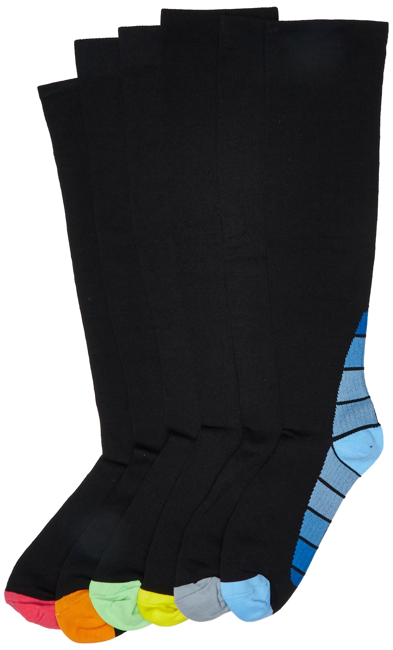 PU Health Unisex Compression Antibacterial Sock, 6 Count