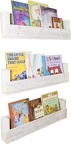 Drakestone Designs Nursery Bookshelves 28 Inch Set of 3 Wall Mount Handmade Rustic Reclaimed Wood – Whitewash