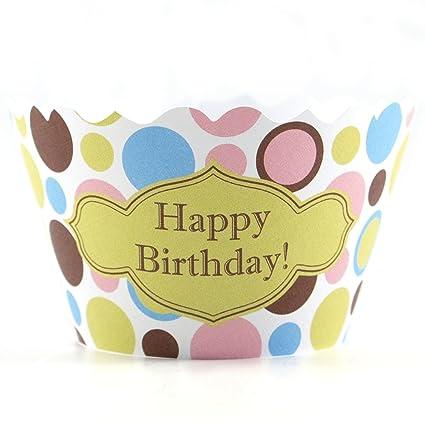 Bella Cupcake Couture feliz cumpleaños Polkadot envoltorios para cupcakes, juego de 12